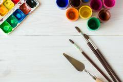 Art of Painting. Painting set: brushes, paints, watercolor, acrylic paint on Stock Photos