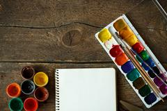 Art of Painting. Painting set: paper, brushes, paints, watercolor, acrylic pa Stock Photos