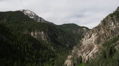Aerial view flying backwards through canyon viewing pine trees. Stock Footage