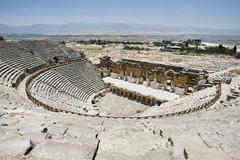 Elevated view of ancient Roman amphitheatre, Hierapolis, Pamukkale, Anatolia, - stock photo