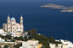Elevated view of the Church of Resurrection, Ermoupoli, Syros, Cyclades Islands, Stock Photos