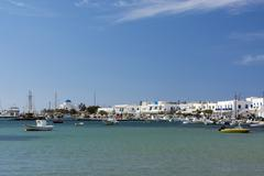 Fishing boats and waterfront at Antiparos, Cyclades Islands, Aegean sea, Greece Stock Photos