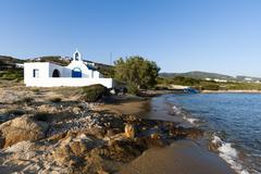 Agios Georgios church on beach at Antiparos, Cyclades Islands, Aegean sea, - stock photo