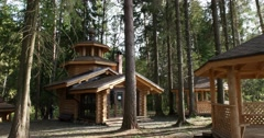 Wooden chapel in the forest Stock Footage
