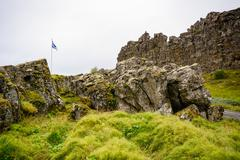 Thingvellir is a national park, about 40 km east of the capital Reykjav­k on the Stock Photos