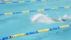 Swimming competition. Swimmer quickly overcome the track. Stock Footage