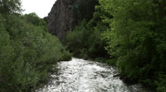 Flying upstream over river surrounded by trees. Stock Footage