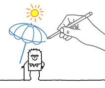 Drawing big hand and  character - heat protection - stock illustration