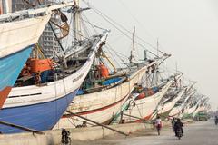 Port in Jakarta, port, Pelabuhan Sunda Kelapa Stock Photos