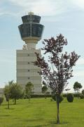 Flight control tower at Athens airport - stock photo