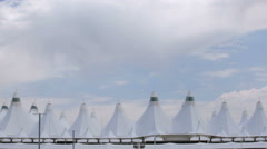 View of tent structure of Denver International Airport from parking structure. Stock Footage
