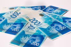Stack of Israeli money bills of 200 shekel Stock Photos
