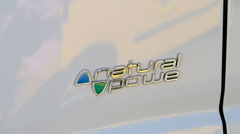 Natural Power sign on electric van Stock Footage