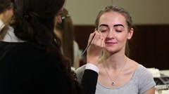 Beautician Colors the Eyebrows With Henna - stock footage