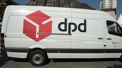 DPD group Postal delivery van in center of the city Stock Footage
