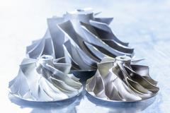 Close up of turbocharger turbines in research facility Stock Photos