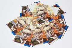 Stack of Israeli money bills of 100 shekel - top view Stock Photos