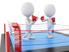 3d Two white people boxing in the ring. - stock illustration