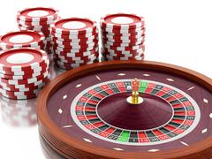 3d Casino roulette wheel with chips. - stock illustration