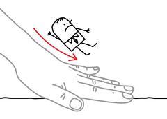 Big hand and  businessman - sliding down - stock illustration