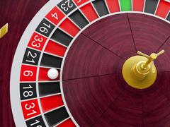 3d Casino roulette wheel with ball on number 6. Stock Illustration