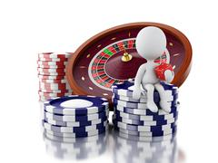 3d White people with casino roulette wheel, chips and dice. - stock illustration