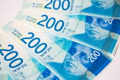 Stack of Israeli money bills of 200 shekel - top view Stock Photos