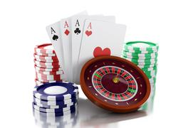 3d Casino roulette wheel with chips and poker cards. Stock Illustration