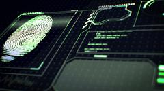 3D rendering of Fingerprint scanner, identification system. Stock Illustration