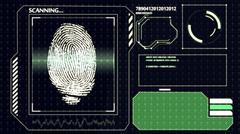 3D rendering of  Scanning human fingerprint. Interface HUD. Technology backgr Piirros