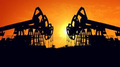 3D rendering of Oil pump oil rig energy industrial machine for petroleum in t Stock Illustration