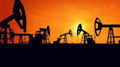 3D rendering of Silhouette pump jacks at sunset. Oil industry. Piirros