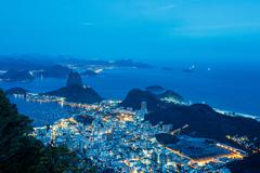 High angle view of Sugarloaf mountain illuminated at night, Rio de Janeiro, - stock photo