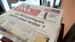 French magazine DNA writing about BREXIT - stock footage