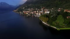 Flying on a Quadcopter Over Lake Como in Italy - stock footage