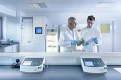 Scientists working in laboratory in food packaging printing factory Stock Photos