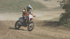 Professional Motocrossers on the Bike Are Riding on the Dusty Track. Enduro Stock Footage
