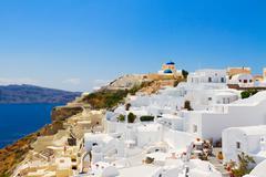 Oia and Aegan sea, Greece Stock Photos