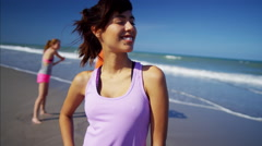 Portrait of Latin American woman with friends after successful workout Stock Footage