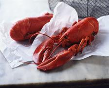 Two whole wet fresh lobsters on paper and marble Stock Photos