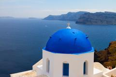view of caldera with blue domes, Santorini - stock photo