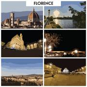 Pictures of different places and landscapes in Florence, Italy Stock Illustration