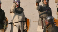 Medieval army ready fight close up Stock Footage