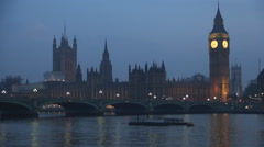 Westminster Palace landscape Thames river bridge traffic night Big Ben lighted. - stock footage