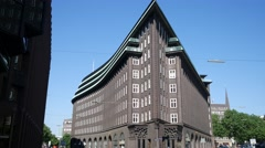 Hamburg Chilehaus in daylight with blue sky in realtime - stock footage