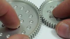 Industrial Spur Gear Hub Meshing Macro Stock Footage
