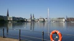 Hamburg City Binnenalster in daylight with blue sky Stock Footage
