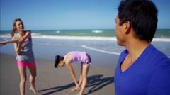 Portrait of Latin American male enjoying training on the beach Stock Footage