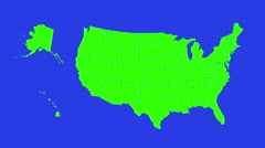 Green screen transition with USA map contours.  Stock Footage