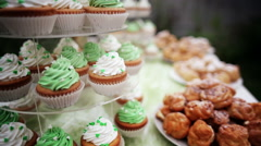 Lots of different cakes on decorative trays Stock Footage
